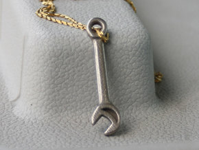 Mini Wrench Pendant in Polished Bronzed Silver Steel