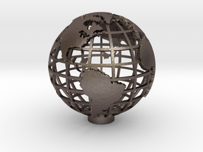 Gridded Globe for Mercator Projection 12cm in Polished Bronzed Silver Steel