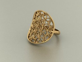 Flower of Life ring in Rhodium Plated Brass