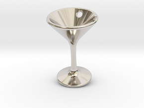 Tiny Little Martini Earring in Rhodium Plated Brass