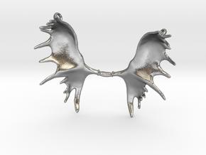Moose Antler Pendant  in Natural Silver