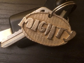 Mighty Bold (a hand drawn keychain) in Polished Bronzed Silver Steel