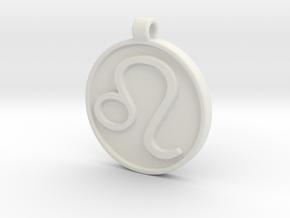 Zodiac KeyChain Medallion-LEO in White Natural Versatile Plastic
