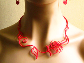 Leaves, Love & Roses Necklace  in Red Processed Versatile Plastic