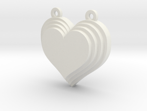 Terracing Heart Pendant in White Strong & Flexible