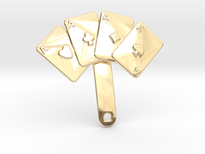 Aces Pin For Jacket in 14k Gold Plated Brass