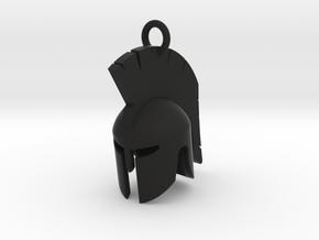 Spartan helmet keychain/pendant in Black Natural Versatile Plastic