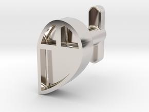 Right Cufflink in Rhodium Plated Brass