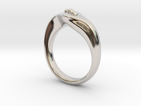 Modern style ring Size 10 in Rhodium Plated Brass