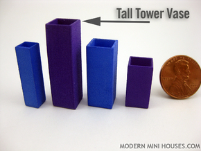 Tower Vase Tall 1:12 scale in White Strong & Flexible Polished