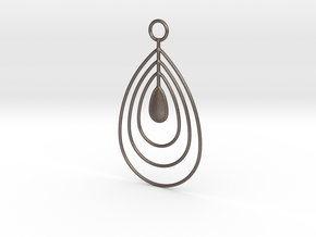 Water drops pendant in Polished Bronzed Silver Steel