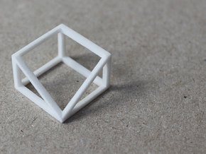 CUBE - ring or pendant - 3P in White Natural Versatile Plastic