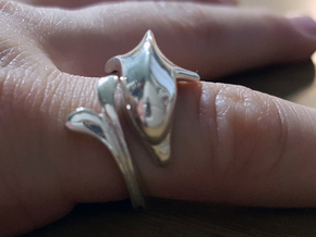 Pinkie finger dolphin ring in Polished Silver: Small