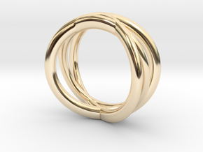 Three Orbits Entwined:Trinity UK Size O (US  7¼)  in 14k Gold Plated Brass