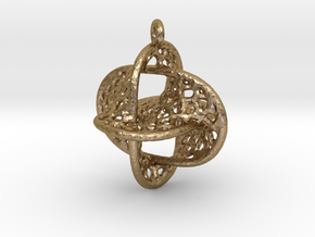 Voronoi Borromean Pendant (Earrings) in Polished Gold Steel
