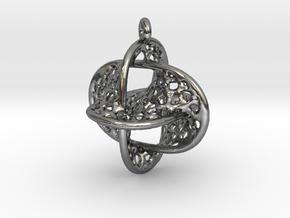 Voronoi Borromean Pendant (Earrings) in Polished Silver