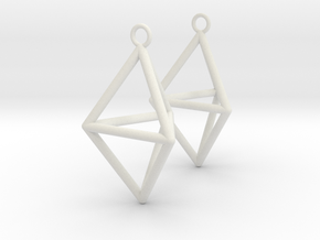 Pyramid triangle earrings type 3 in White Natural Versatile Plastic