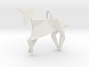 Origami Unicorn in White Natural Versatile Plastic