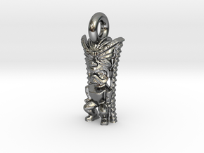 TikiGodOfMoneyPendant in Fine Detail Polished Silver