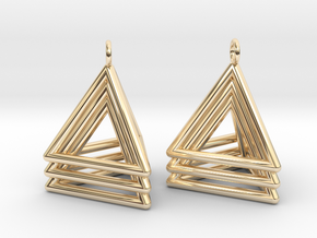 Pyramid triangle earrings type 5 in 14K Yellow Gold