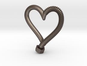 Heart-screw pendant in Polished Bronzed Silver Steel