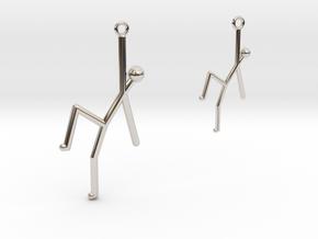 Stick Man Earrings-Asymmetrical in Rhodium Plated Brass