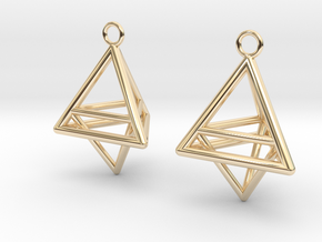 Pyramid triangle earrings type 10 in 14K Yellow Gold