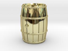 Wooden Barrel Wine Rundlet in 18k Gold