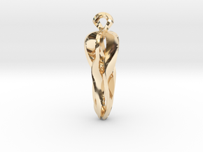 Pendant, Stylized 1 in 14k Gold Plated Brass