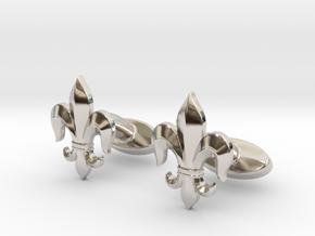 Fleur-de-lis Cufflinks in Rhodium Plated Brass