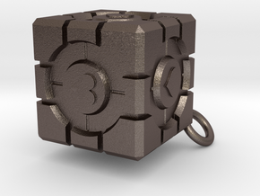 Companion Cube in Polished Bronzed Silver Steel