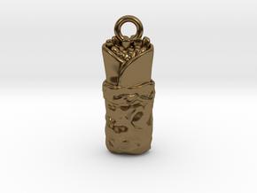 Burrito Charm / Pendant in Polished Bronze