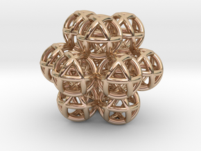13 Vector Equilibrium Spheres Fractal Sacred Geome in 14k Rose Gold Plated Brass
