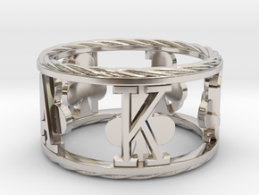 Royal Flush Clubs Ring in Rhodium Plated Brass: 8 / 56.75