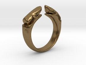 dual stone ring in Natural Bronze