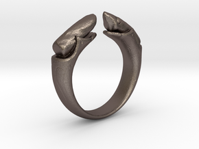 dual stone ring in Polished Bronzed Silver Steel