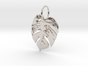 Tropical leaf in Rhodium Plated Brass