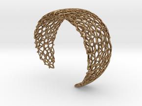 Voronoi Cuff Bracelet - Medium sized cells in Natural Brass