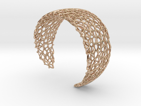 Voronoi Cuff Bracelet - Medium sized cells in 14k Rose Gold Plated Brass