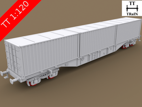 TT Scale Sgnss Container Wagon complete set (EU)  in Smooth Fine Detail Plastic