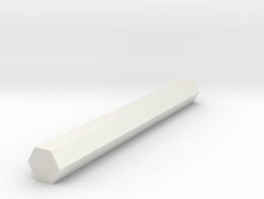 Hex Shaft Half Inch in White Natural Versatile Plastic