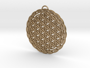Flower of Life Pendant 2 in Polished Gold Steel