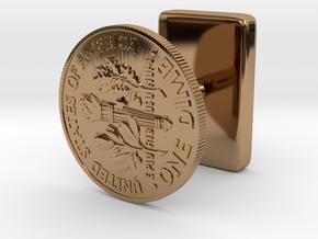 DimeCufflink in Polished Brass