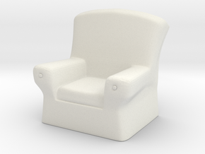 28mm scale Arm Chair  in White Natural Versatile Plastic