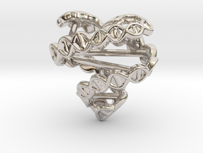 DNA Heart Pendant in Rhodium Plated Brass