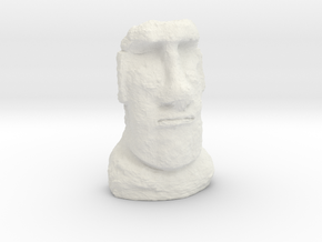 35mm scale Moai Head (Easter Island head) in White Strong & Flexible
