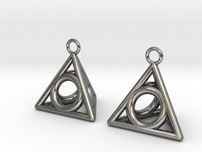 Pyramid triangle earrings serie 3 type 4 in Polished Silver