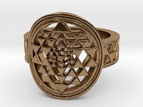New Design Sri Yantra Ring Size 9 in Natural Brass