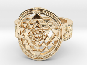 New Design Sri Yantra Ring Size 9 in 14K Yellow Gold