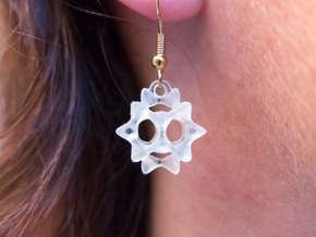 Sectik Star Earrings in White Strong & Flexible
